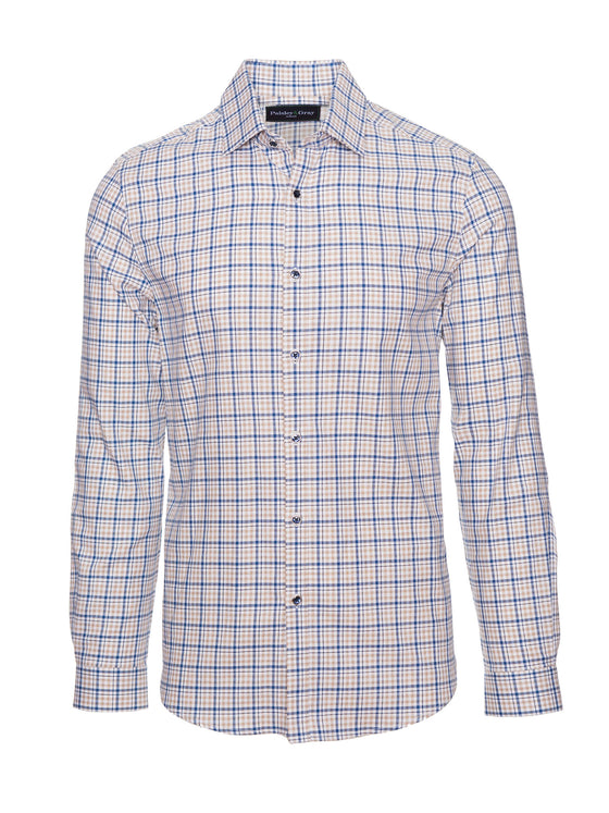 Slim Fit Shirt - Blue & Tan Check
