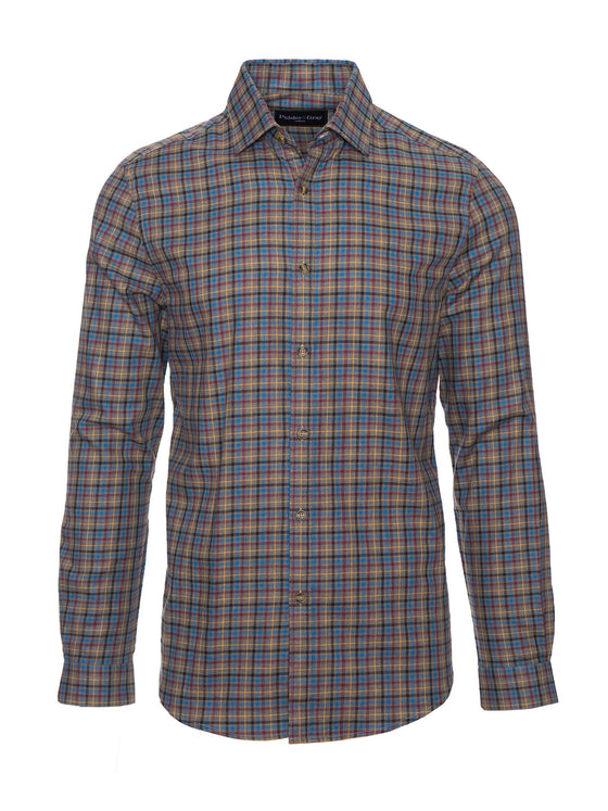 Slim Fit Shirt - Charcoal, Maroon & Blue Check