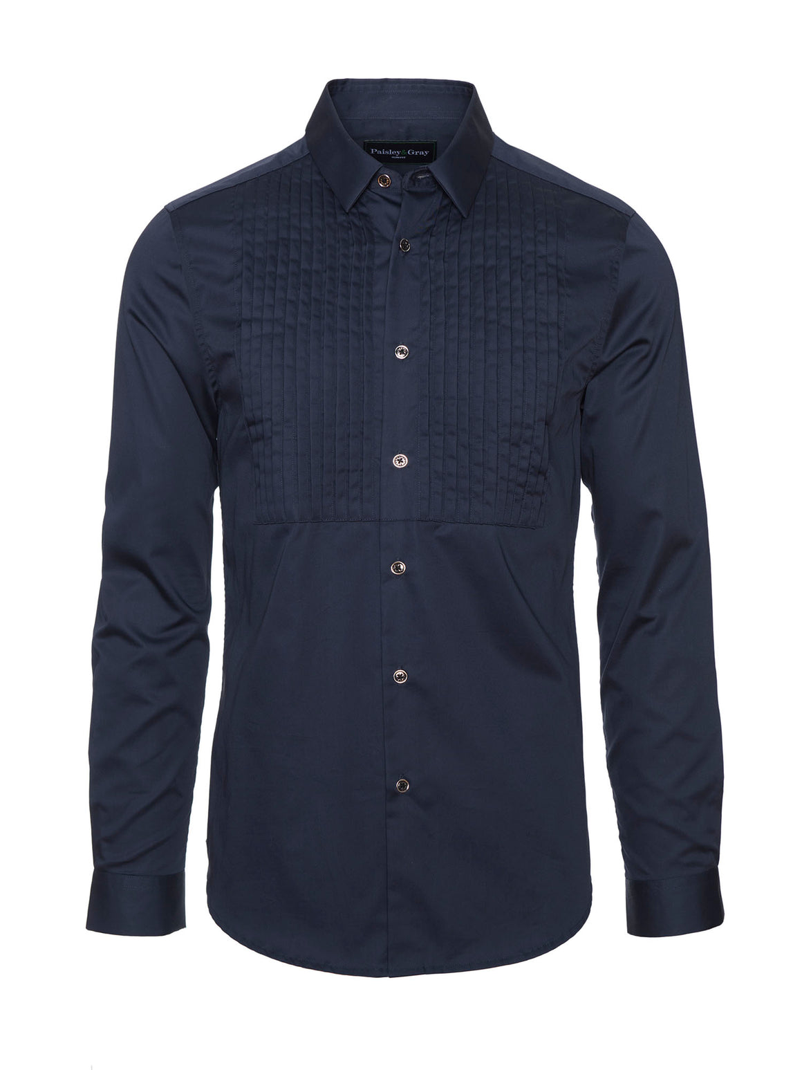 Slim Fit Tuxedo Shirt - Navy Sateen