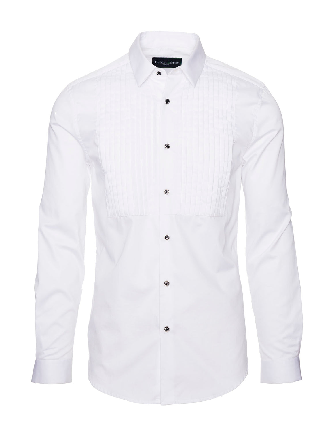 Slim Fit Tuxedo Shirt - White Sateen