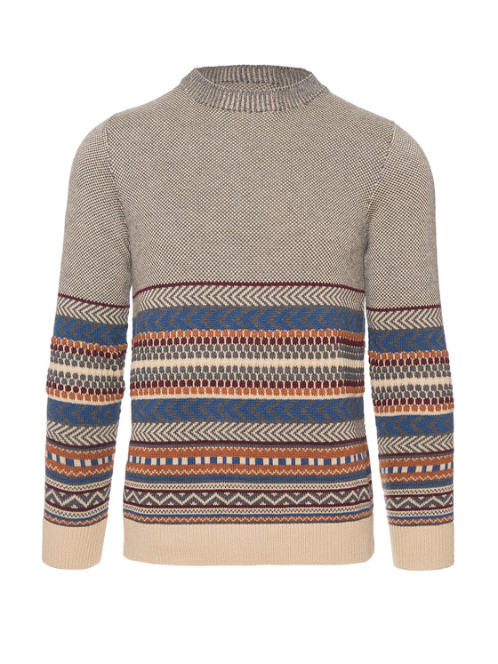 Jacquard Crewneck Sweater - Grey Multi