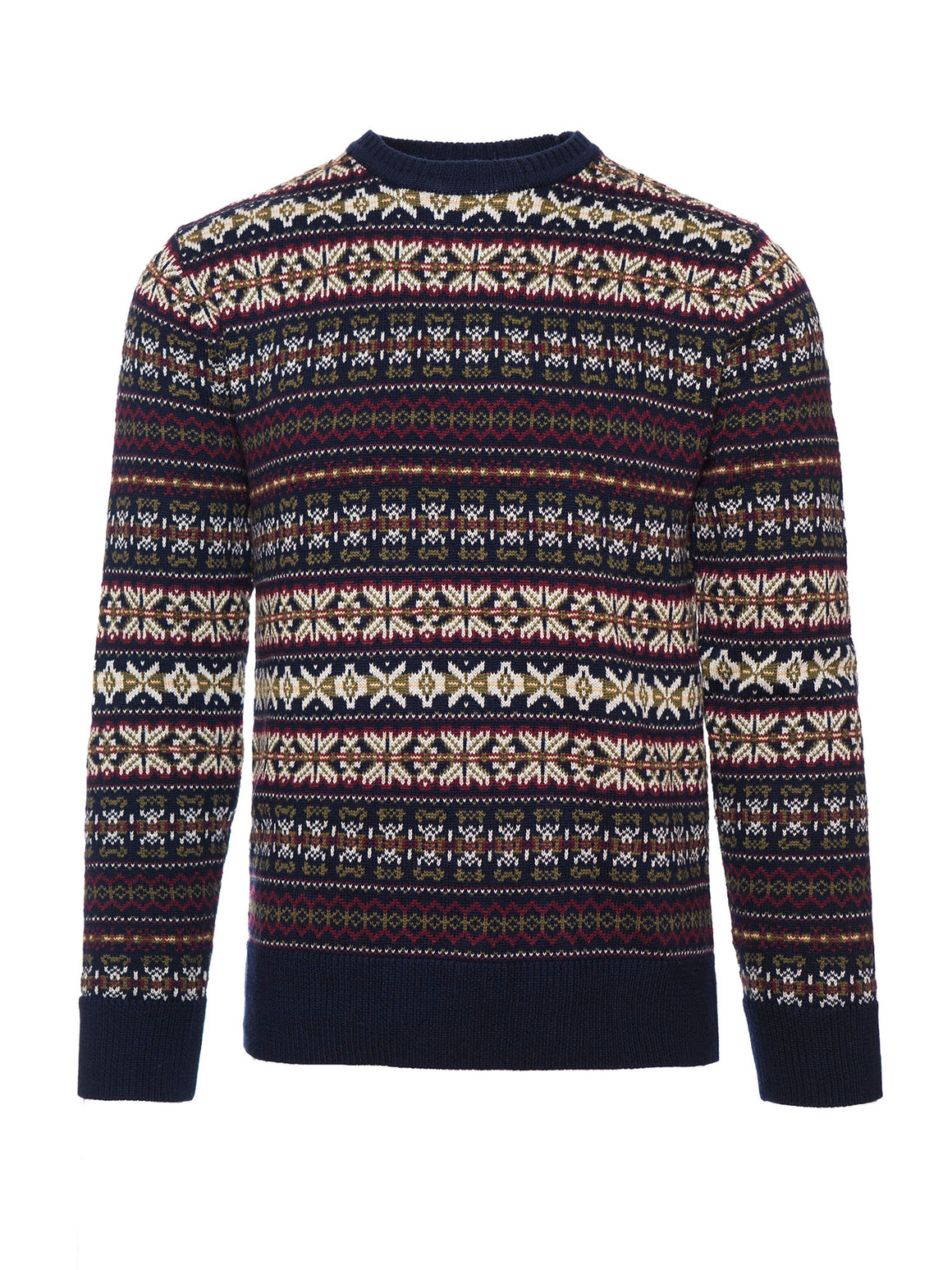Jacquard Crewneck Sweater - Navy Multi
