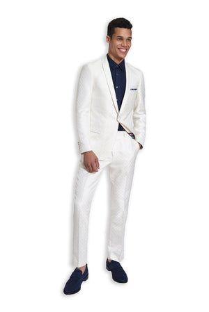paisley & gray cream & gold diamond slim fit shawl lapel tuxedo jacket 2103J cream & gold diamond with white satin stripe slim fit tuxedo pant 2103P blue sateen slim fit tuxedo shirt 2083w