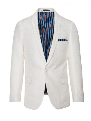 paisley & gray cream & gold diamond slim fit shawl lapel tuxedo jacket 2103J antique character lining and pocket square white satin lapel, trim & buttons flap pockets