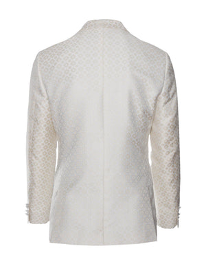 paisley & gray cream & gold diamond slim fit shawl lapel tuxedo jacket 2103J