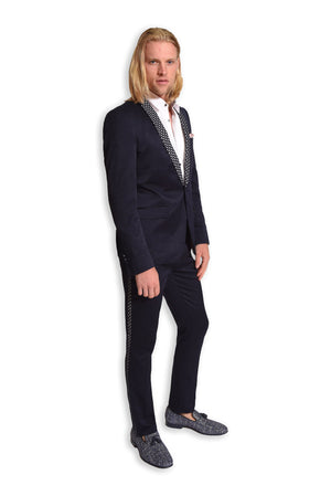 Paisley & gray navy diamond skinny fit shawl lapel tuxedo jacket 2105J navy diamond skinny fit suit pant 2105P white sateen tuxedo shirt 2085W