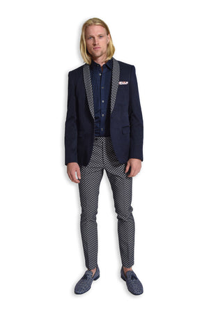 paisley & gray navy diamond skinny fit shawl lapel tuxedo jacket 2105J navy & white jacquard skinny fit suit pant 2106P navy sateen tuxedo shirt 2083W