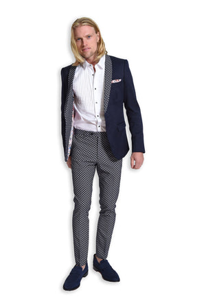 paisley & gray navy diamond skinny fit shawl lapel tuxedo jacket 2105J navy & white jacquard skinny fit suit pant 2106P white sateen tuxedo shirt 2085W