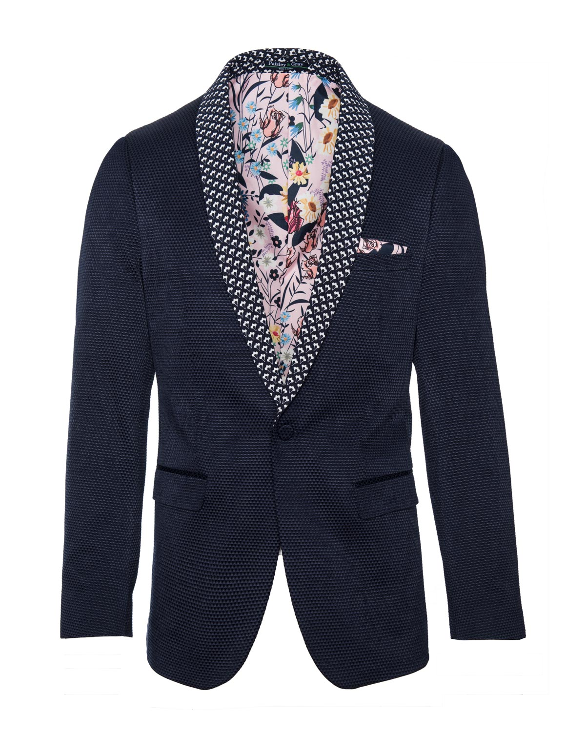 paisley & gray navy diamond skinny fit navy & white jacquard contrast shawl lapel tuxedo jacket 2105J pastel, illustrated floral lining and pocket square one button flap pockets
