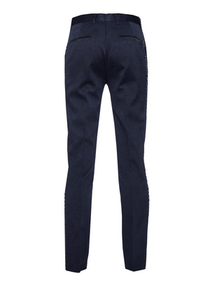 paisley & gray navy diamond with navy & white jacquard leg stripe skinny fit tuxedo pant 2105p