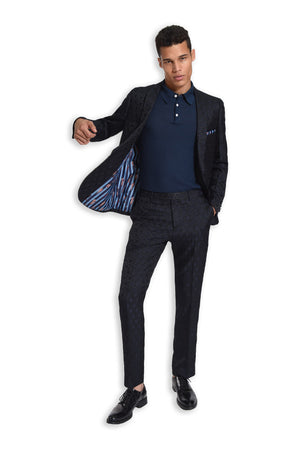 paisley & gray navy & black circle slim fit shawl lapel tuxedo jacket 2107J short sleeve knit polo shirt 2290S