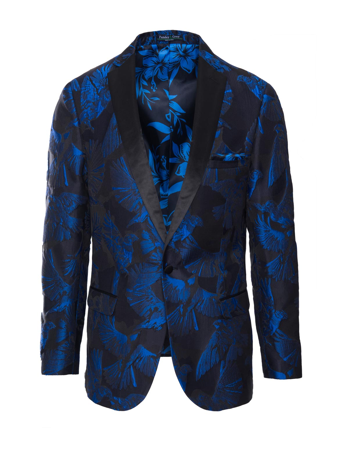 paisley & gray black & blue bird slim fit notch lapel tuxedo jacket 2109J harmonious electro-tropical lining and pocket square black satin lapel, trim & buttons flap pockets