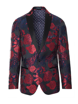 paisley & gray red & blue rose slim fit peak lapel tuxedo jacket 2110J nautical sailboat fleet lining and pocket square black satin lapel, trim & buttons besom pockets