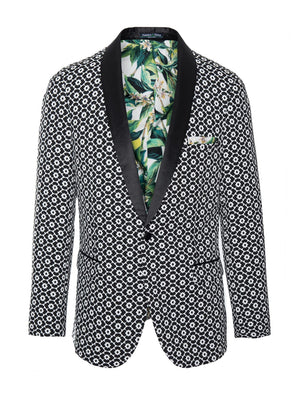 Regent Shawl Tuxedo Jacket - Slim - Black & White Floral