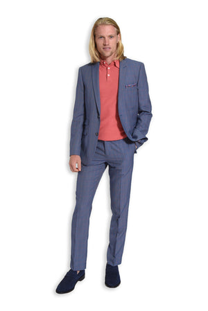 paisley & gray blue & pink grid slim fit peak lapel suit jacket 2116J blue & pink grid slim fit suit pant 2116P coral slim fit knit polo shirt 2285S