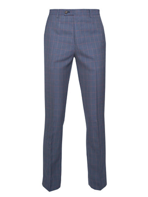 paisley & gray blue & pink grid slim fit suit pant 2116P
