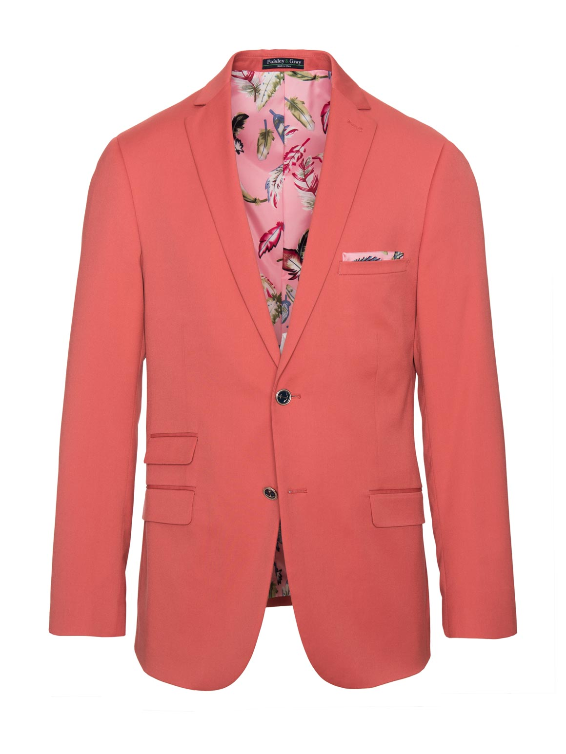 paisley & gray pink solid slim fit notch lapel suit jacket 2117J lively, pink feather lining and pocket square pink neat elbow patches navy plated buttons flap pockets
