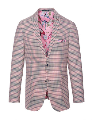 paisley & gray pink gingham slim fit notch lapel suit jacket 2119J lively, pink feather lining and pocket square navy plated buttons patch pockets