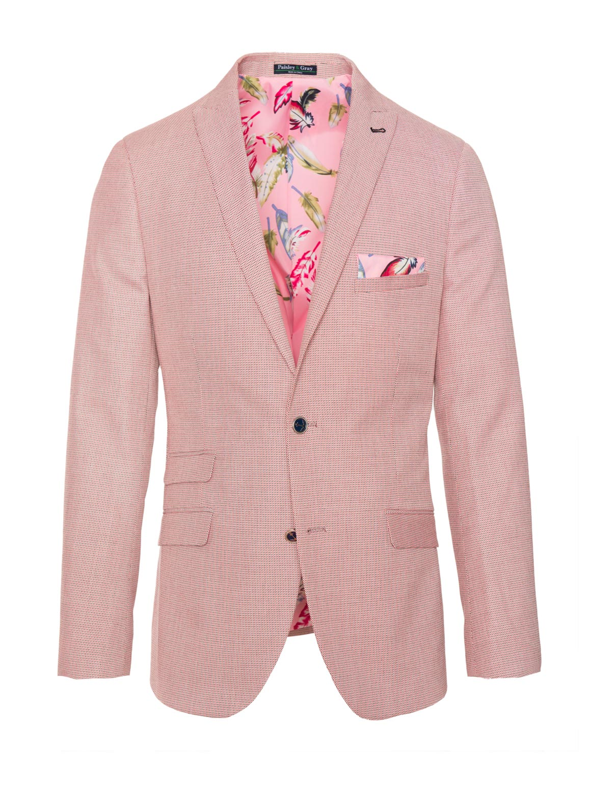 paisley & gray pink neat slim fit peak lapel suit jacket 2120J lively, pink feather lining and pocket square navy plated buttons flap pockets