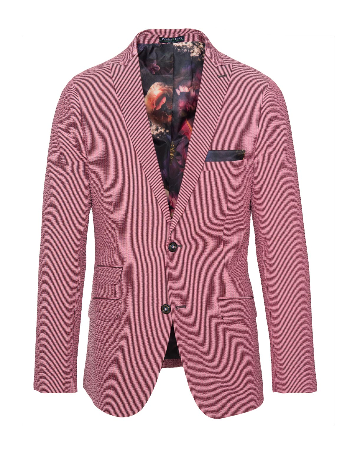 paisley & gray pink seersucker slim fit peak lapel suit jacket 2121J dramatic camo-rose lining and pocket square blue buttons flap pockets