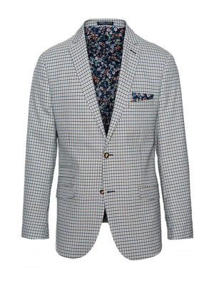 paisley & gray teal gingham slim fit notch lapel suit jacket 2122J rich, floral dragonfly lining and pocket square navy plated buttons flap pockets