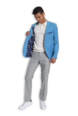 paisley & gray teal solid slim fit peak lapel suit jacket 2123J teal gingham elbow patches teal gingham slim fit suit pant 2122P white slim fit knit polo shirt 2291S
