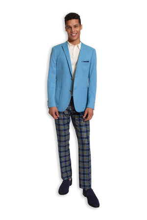 paisley & gray teal solid slim fit peak lapel suit jacket 2123J teal gingham elbow patches blue & yellow plaid slim fit suit pant 2124P white slim fit knit polo shirt 2291S