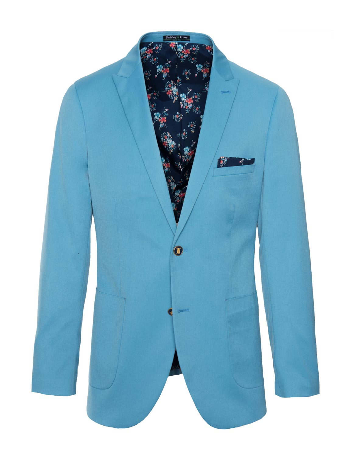 paisley & gray teal solid slim fit peak lapel suit jacket 2123J lustrous indigo floral lining and pocket square teal gingham elbow patches navy plated buttons flap pockets