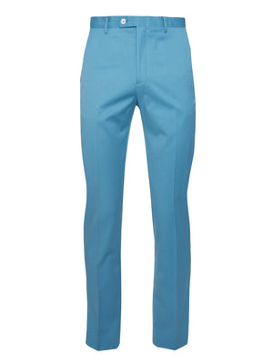 paisley & gray teal solid slim fit suit pant 2123P lustrous indigo floral lining teal gingham trim navy plated buttons slant front pockets and besom back pockets