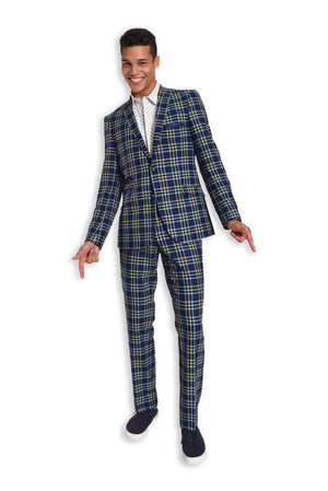 paisley & gray blue & yellow plaid slim fit notch lapel suit jacket 2124J blue & yellow plaid slim fit suit pant 2124P white & light blue polkadot slim fit spread collar button-down shirt 2205W