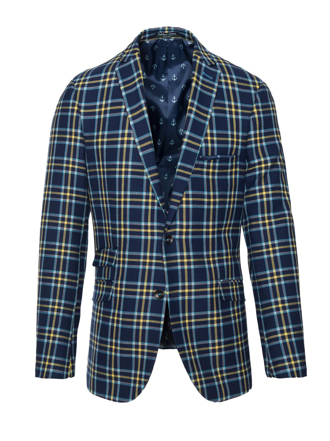 paisley & gray blue & yellow plaid slim fit notch lapel suit jacket 2124J ultramarine anchor lining and pocket square brown buttons flap pockets