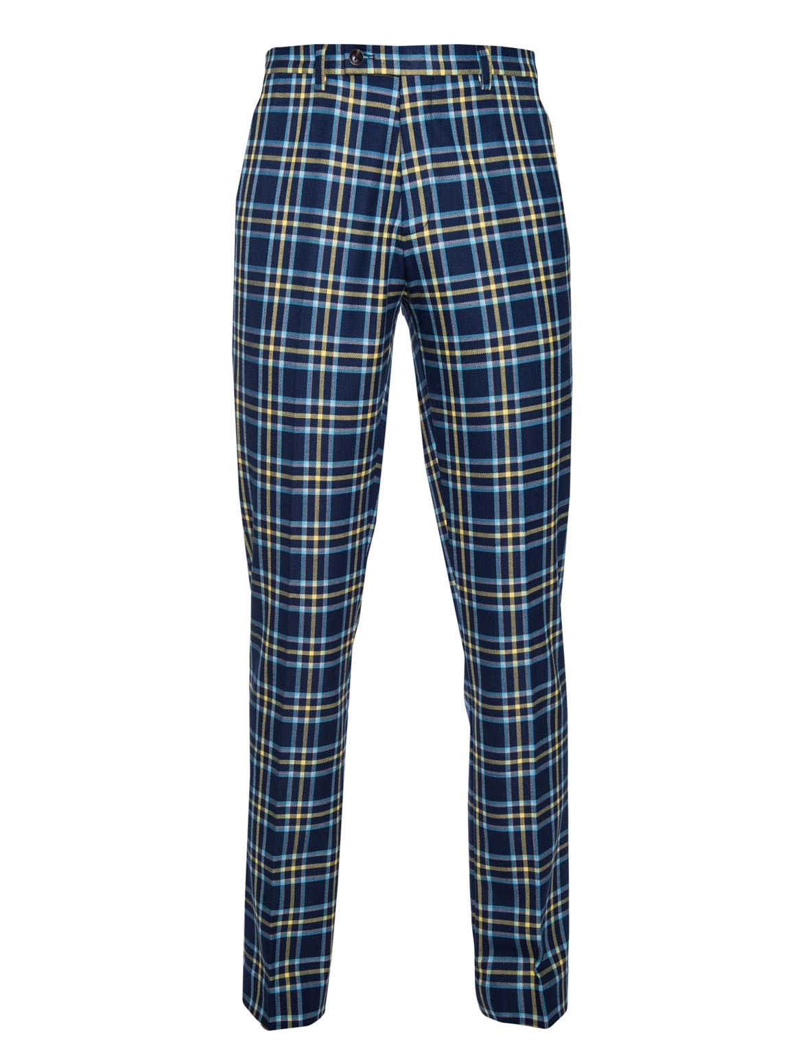 paisley & gray blue & yellow plaid slim fit suit pant 2124P