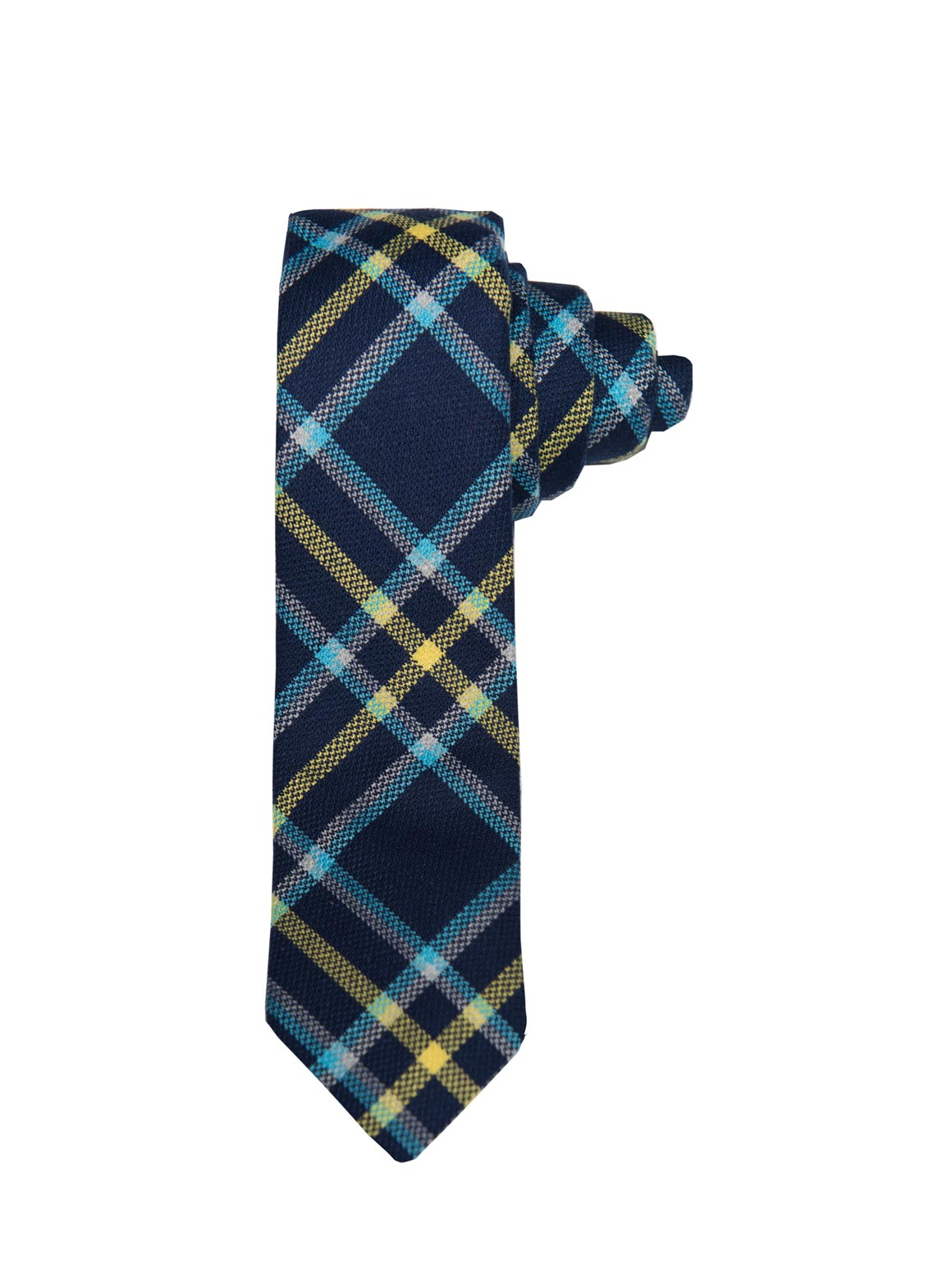 paisley & gray blue & yellow plaid slim tie is a menswear staple for easy styling 2124t