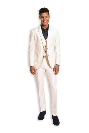paisley & gray off-white solid slim fit notch lapel suit jacket 2126J off-white solid slim fit suit pant 2126P off-white solid slim fit suit vest 2126V