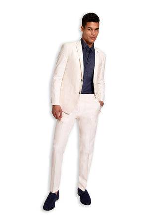 paisley & gray off-white solid slim fit notch lapel suit jacket 2126J off-white solid slim fit suit pant 2126P