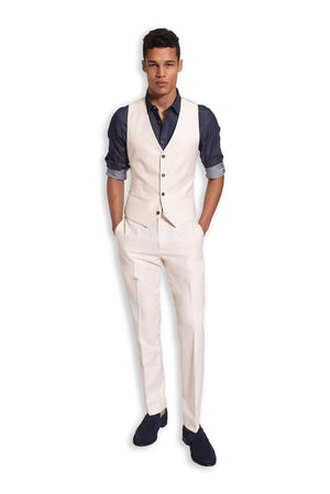 paisley & gray off-white solid slim fit suit pant 2126P off-white solid slim fit suit vest 2126V