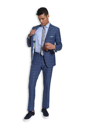paisley & gray navy & light blue windowpane slim fit notch lapel suit jacket 2136J navy & light blue windowpane slim fit suit pant 2136P denim & white jacquard slim tie 2162T