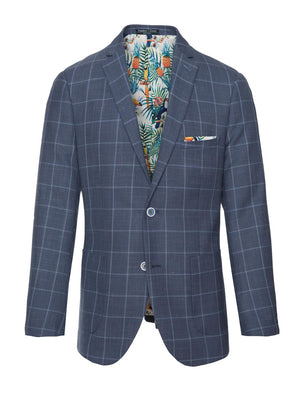 paisley & gray navy & light blue windowpane slim fit notch lapel suit jacket 2136J vibrant white rainforest lining and pocket square blue marbled buttons patch pockets