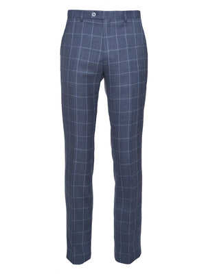 paisley & gray navy & light blue windowpane slim fit suit pant 2136P
