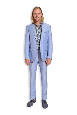 paisley & gray light blue herringbone slim fit peak lapel suit jacket 2137J light blue herringbone slim fit suit pant 2137P