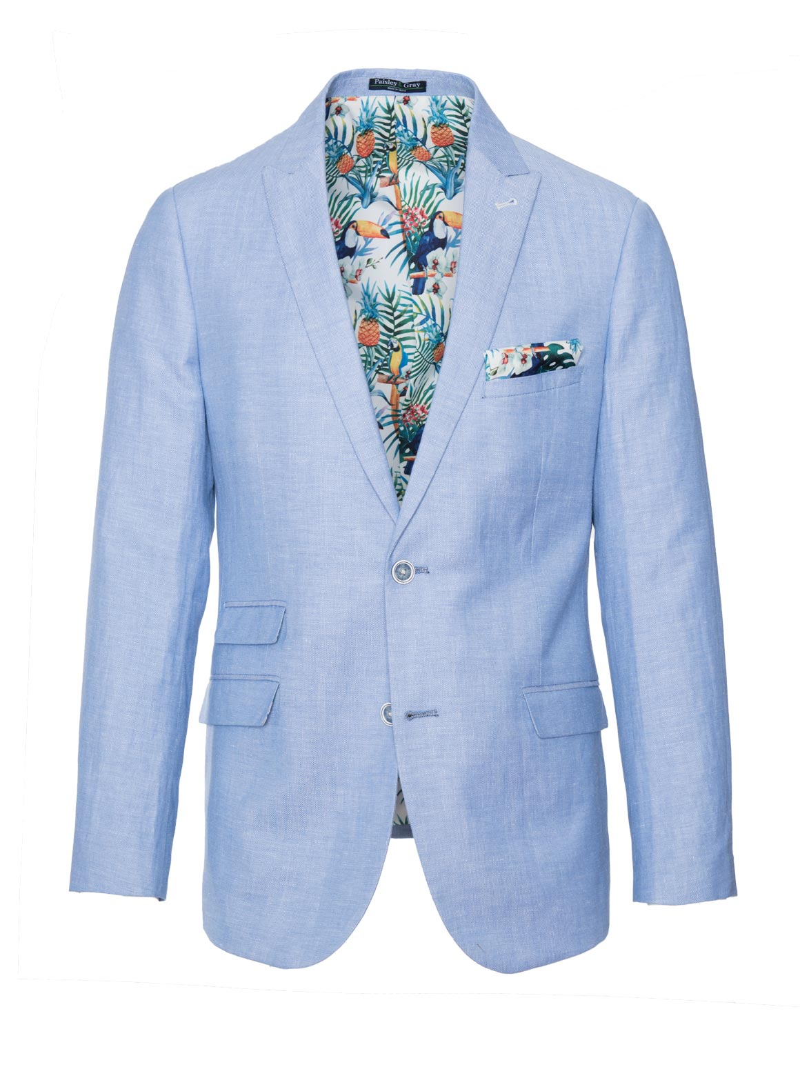 paisley & gray light blue herringbone slim fit peak lapel suit jacket 2137J vibrant white rainforest lining and pocket square blue marbled buttons flap pockets