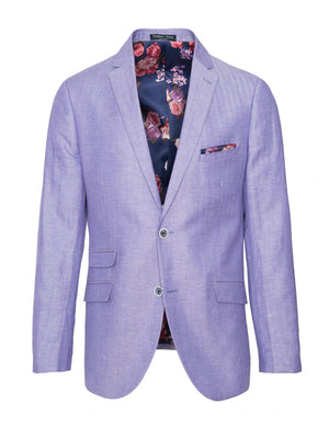 paisley & gray lilac herringbone slim fit notch lapel suit jacket 2138J striking rouge floral lining and pocket square blue marbled buttons flap pockets