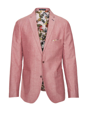 paisley & gray red chambray slim fit notch lapel suit jacket 2140J lush, light pink with birds lining and pocket square maroon buttons patch pockets