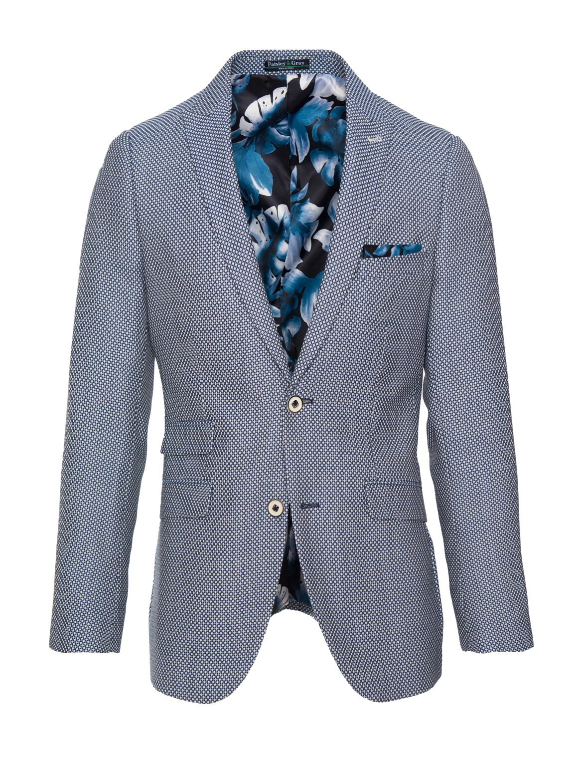 paisley & gray white & blue dot skinny fit peak lapel suit jacket 2141J monochromatic camo-floral lining and pocket square blue buttons flap pockets