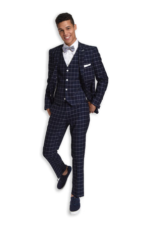 paisley & gray navy & white windowpane slim fit peak lapel suit jacket 2142J navy & white windowpane slim fit suit pant 2142P navy & white windowpane slim fit suit vest 2142V