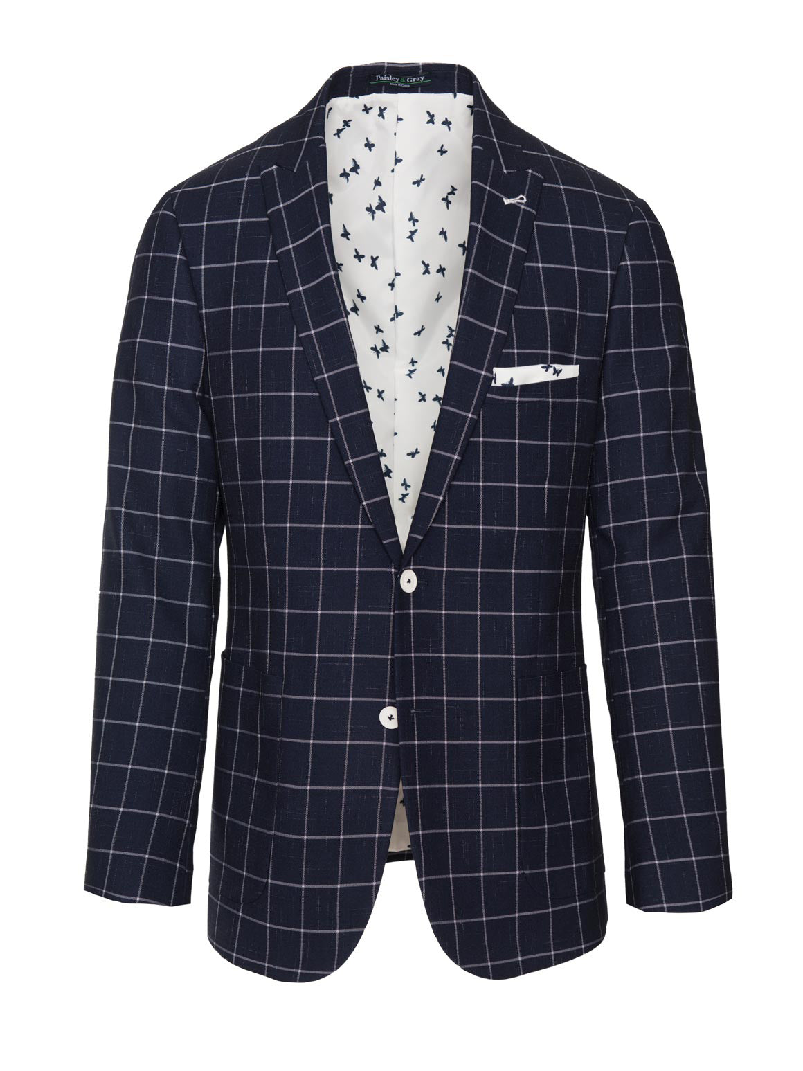 paisley & gray navy & white windowpane slim fit peak lapel suit jacket 2142J echoing white & navy butterfly lining and pocket square white buttons patch pockets