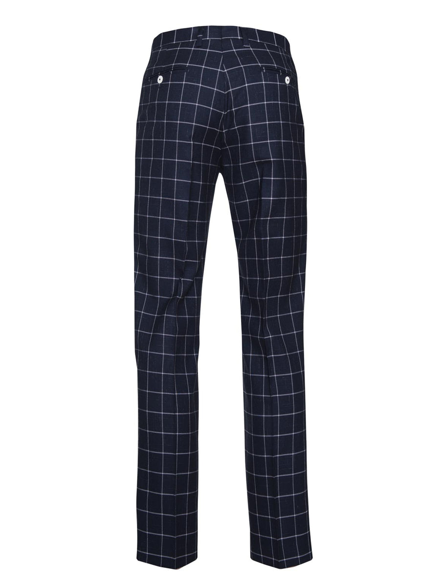 paisley & gray navy & white windowpane slim fit suit pant 2142P