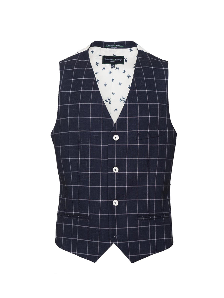 paisley & gray navy & white windowpane slim fit suit vest 2142V echoing white & navy butterfly lining white buttons chest welt pocket and besom pockets