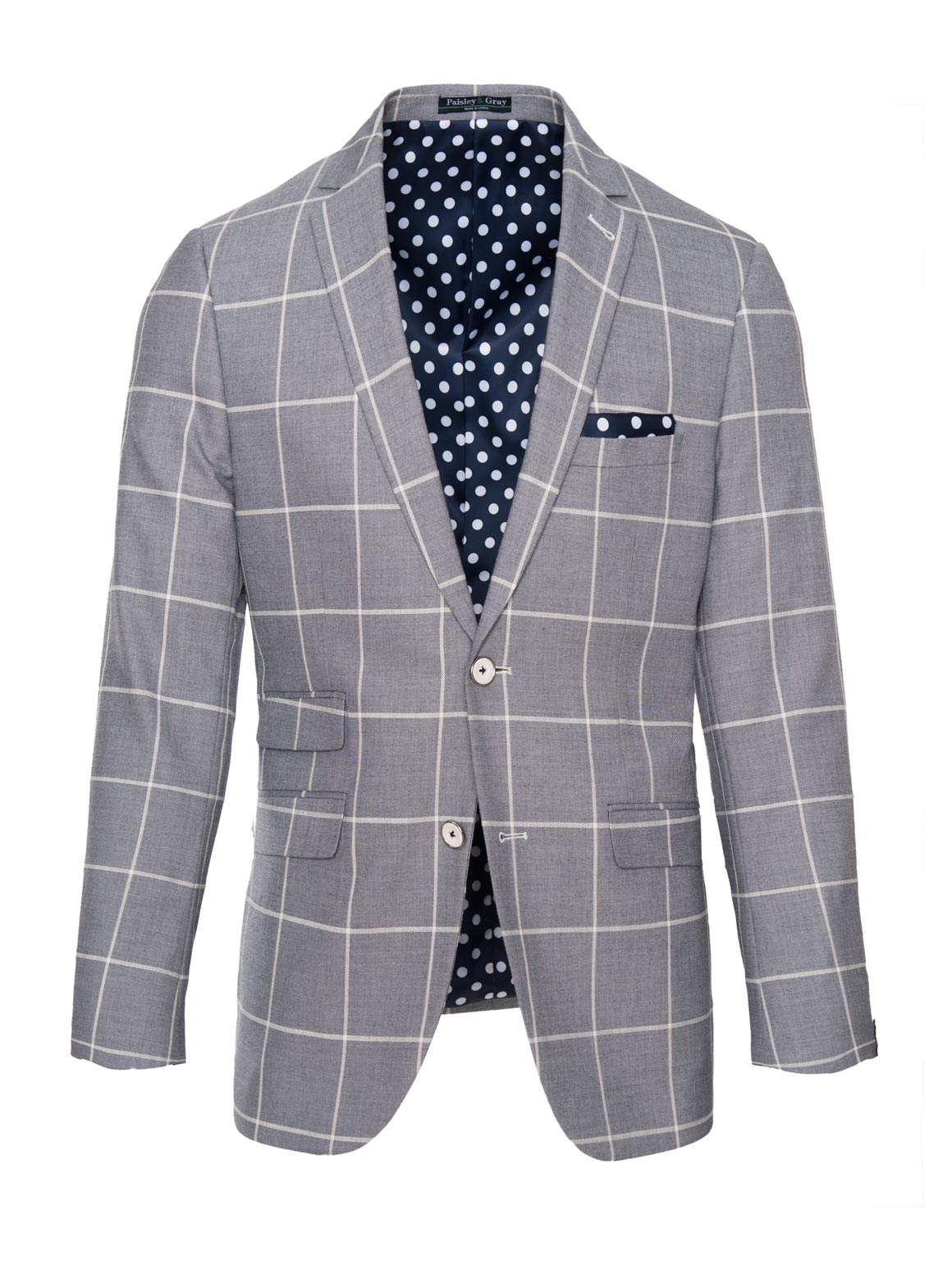 paisley & gray denim & white windowpane skinny fit notch lapel suit jacket 2148J eccentric navy & white polkadot lining and pocket square white plated buttons flap pockets