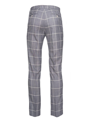 paisley & gray denim & white windowpane skinny fit suit pant 2148P